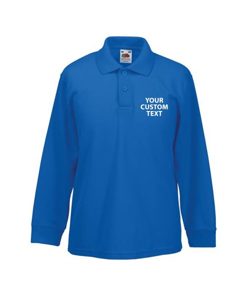 Personalised Polo Shirts Kids Long Sleeve Pique Fruit of the Loom White 170gsm, Colours 180gsm with custom text Embroidery or logo