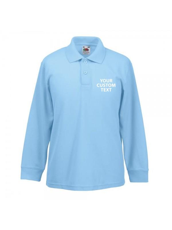 Personalised polo shirts kids long sleeve pique fruit of for Personalized polo shirts for toddlers