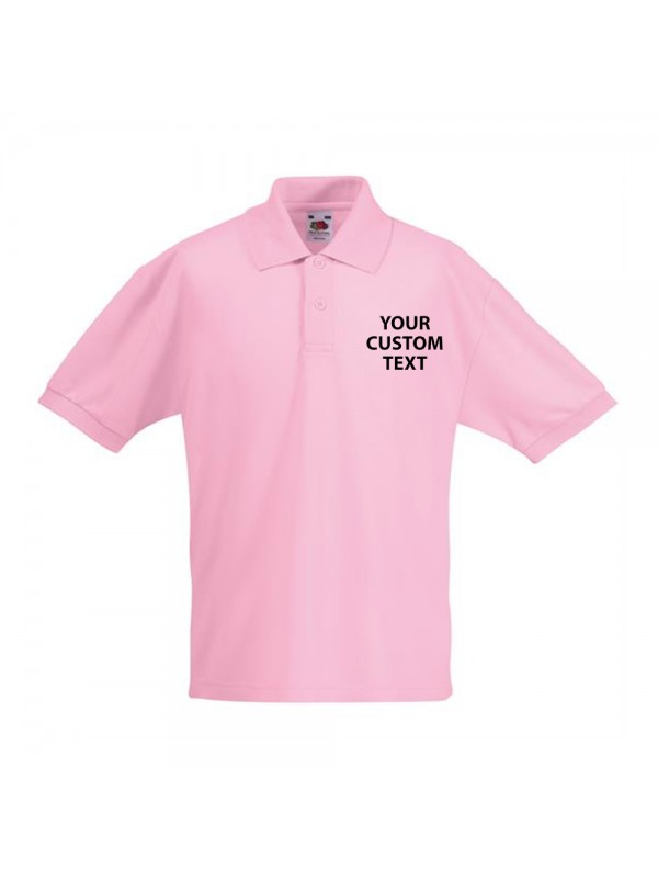 Personalised polo shirts kids pique fruit of the loom for Personalized polo shirts for toddlers