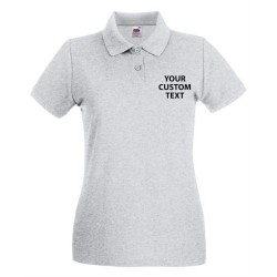 Personalised Polo Shirts Lady Fit Premium Pique Fruit of the Loom White 170gsm, Colours 180gsm with custom text Embroidery or logo