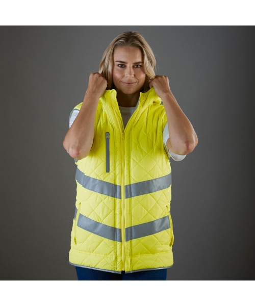 Plain Hi-vis Kensington hooded gilet Yoko 340 GSM
