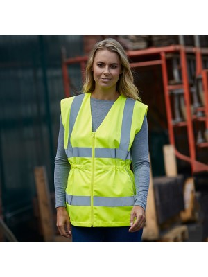 Plain Women's hi-vis executive waistcoat Yoko 120 GSM