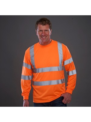 Plain Hi-vis long sleeve t-shirt Yoko 200 GSM