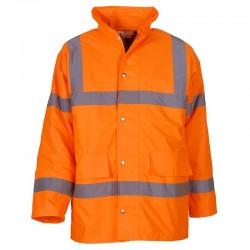 Plain Hi vis classic motorway jacket Yoko 300D outer fabric, 190g padding GSM