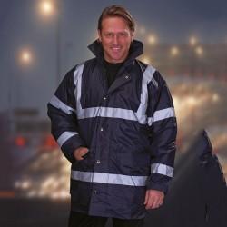 Plain Hi vis security jacket Yoko 420D Nylon Outer fabric. 190gsm Polyester padding GSM