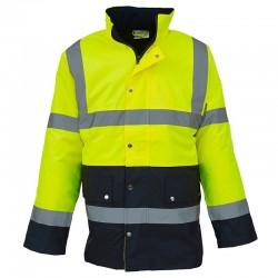 Plain Hi vis two-tone motorway jacket Yoko 300D outer fabric, 190g padding GSM