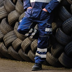 Plain Hi vis polycotton cargo trousers with knee pad pockets Yoko 340 GSM