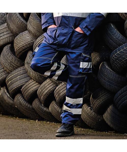 Plain Hi vis polycotton cargo trousers with knee pad pockets Yoko 340 GSM