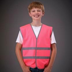 Plain Hi-vis reflective border kids waistcoat Yoko 120 GSM
