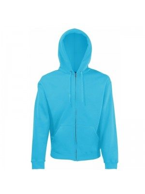 Plain Azure Blue Zip up Fruit of the Loom Hoodie