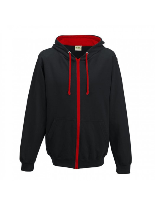 Retro Plain Black/Fire Red Contrast Zip up AWD Hoodie