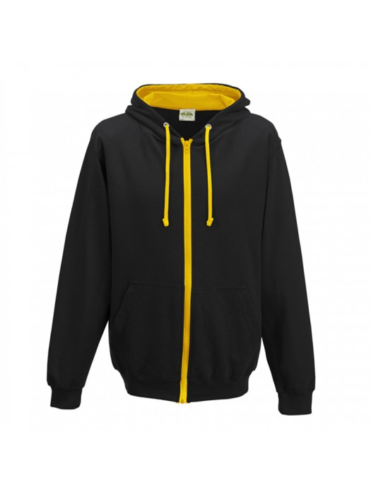 Retro Plain Black/Gold Contrast Zip up AWD Hoodie