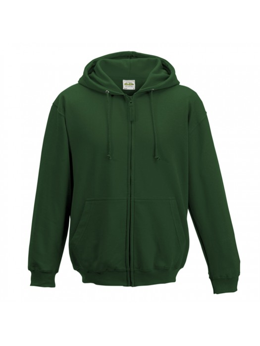 Plain Bottle Green Zip up AWD Hoodie