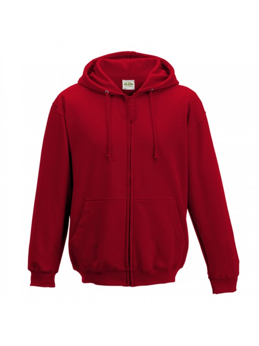 Plain Fire Red Zip up AWD Hoodie
