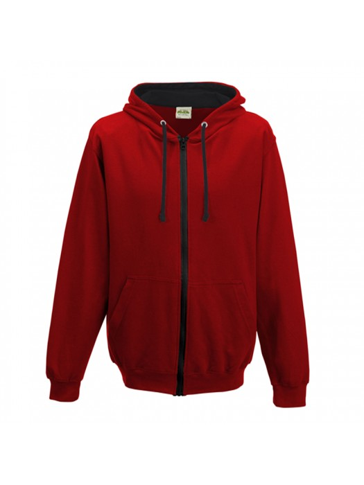 Retro Plain Fire Red/ Black Contrast Zip up AWD Hoodie