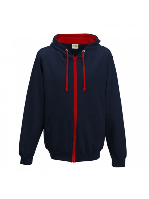 Retro Plain French Navy/Fire Red Contrast Zip up AWD Hoodie