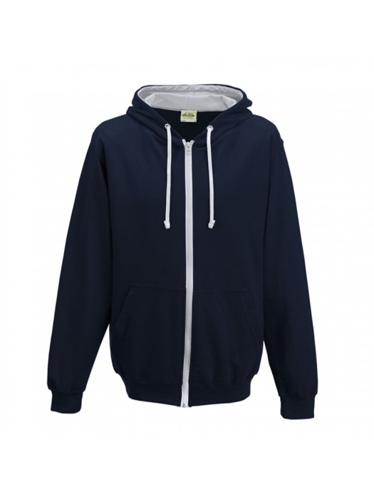 Retro Plain French Navy/ Heather Grey Contrast Zip up AWD Hoodie