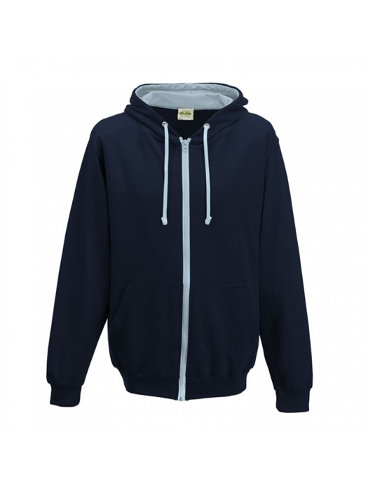 Retro Plain French Navy/ Sky Blue Contrast Zip up AWD Hoodie