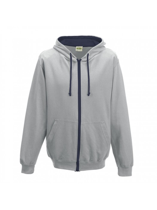 Retro Plain Heather Grey/French Navy Contrast Zip up AWD Hoodie