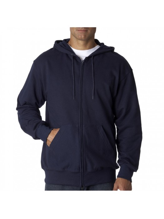 Plain Deep Navy Zip up Fruit of the Loom Hoodie