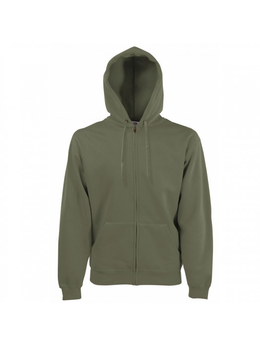 Plain Classic Olive Zip up Fruit of the Loom Hoodie