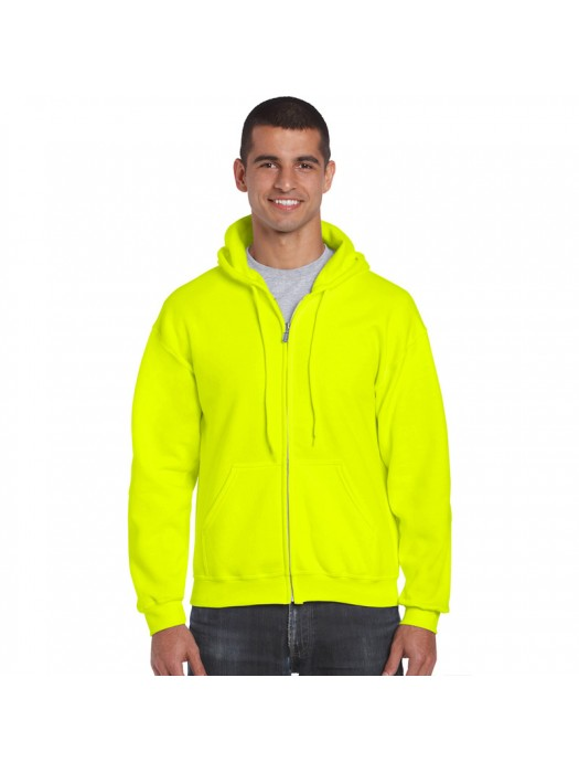 Plain Safety Green Zip up Gildan Hoody
