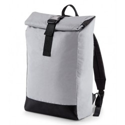 Plain REFLECTIVE ROLL-TOP BACKPACK BAG NEW BAGBASE 230 GSM