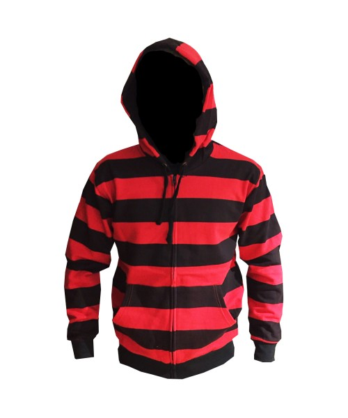 Plain Red and Black Striped  Zip up Hoodie