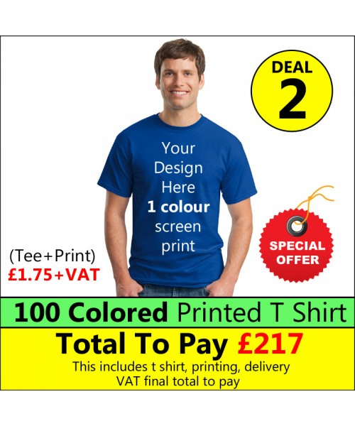 100 Coloured T Shirt with 1 colour print Deal 2