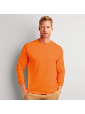 Plain Long Sleeve Ultra Cotton T-Shirt Gildan White 195 gsm Cols 205 GSM