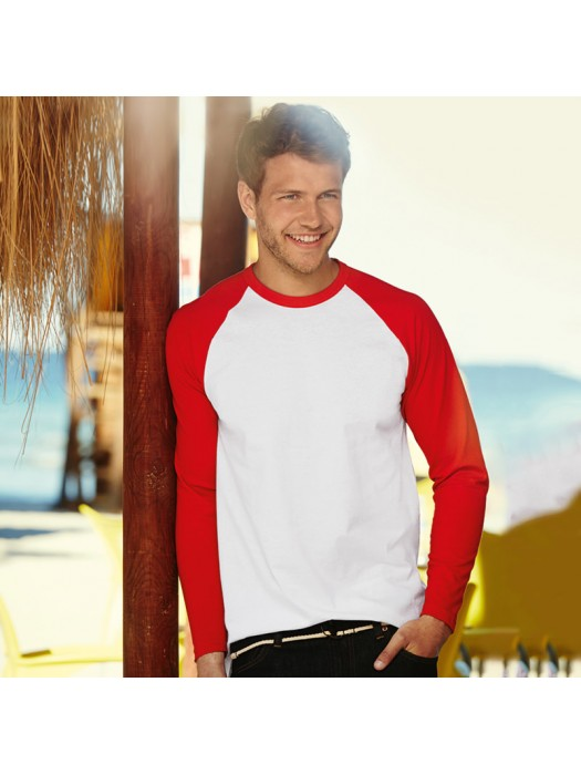 Plain Long Sleeve CONTRAST BASEBALL T-SHIRT Fruit of the Loom White 160 gsm Cols 165 GSM