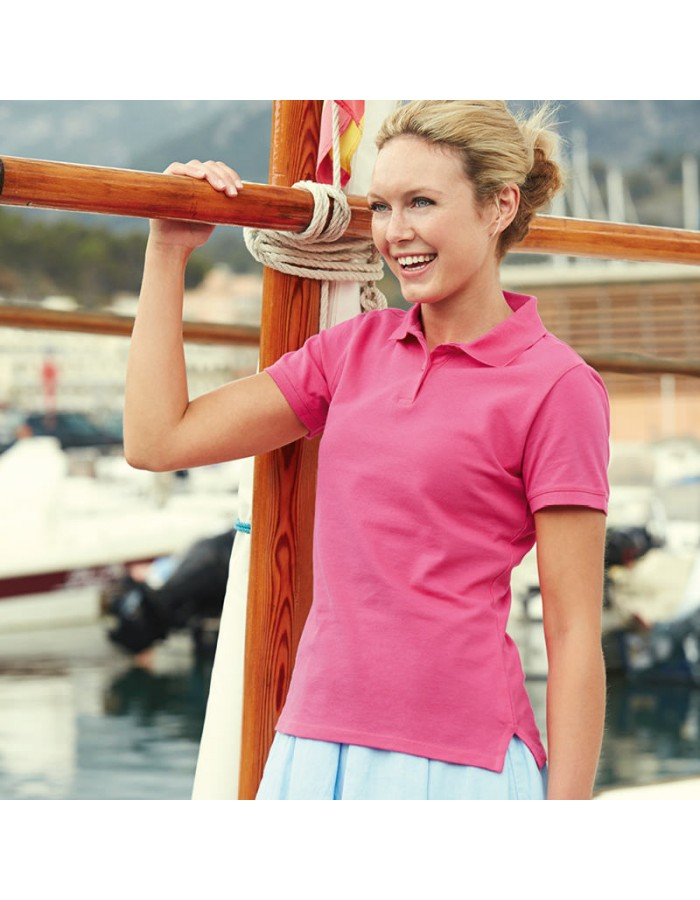 Lady Fit Pique Polo Shirt Fruit of the Loom White 210 gsm Cols 220 GSM