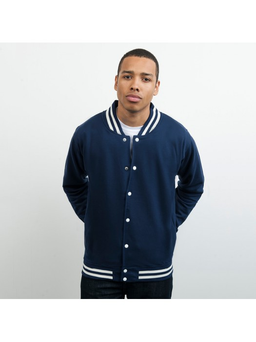 Navy AWD college Jackets in same body sleeve colour