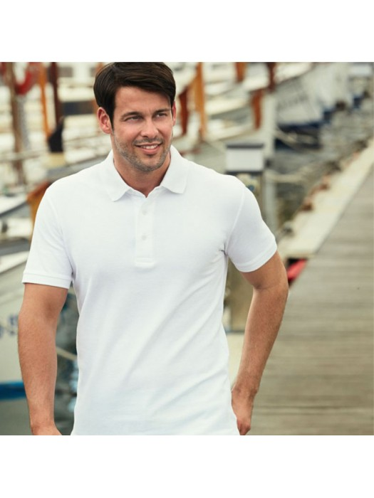 Plain 100% Cotton HEAVY PIQUE POLO SHIRT FRUIT OF THE LOOM White 230 gsm Cols 240 GSM
