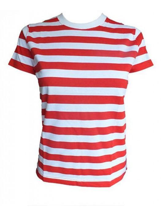 Striped T Shirt Horizontal White/Red Striped T Shirt