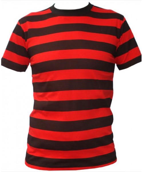 SnS Trendy Contrast Horizontal Striped T Shirt 160 GSM - Stars & Stripes