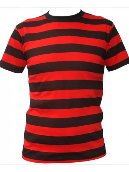SnS Trendy Contrast Horizontal Red/Black Striped T Shirt
