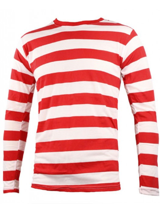 SnS Contrast Horizontal White/Red Striped long sleeve T Shirt