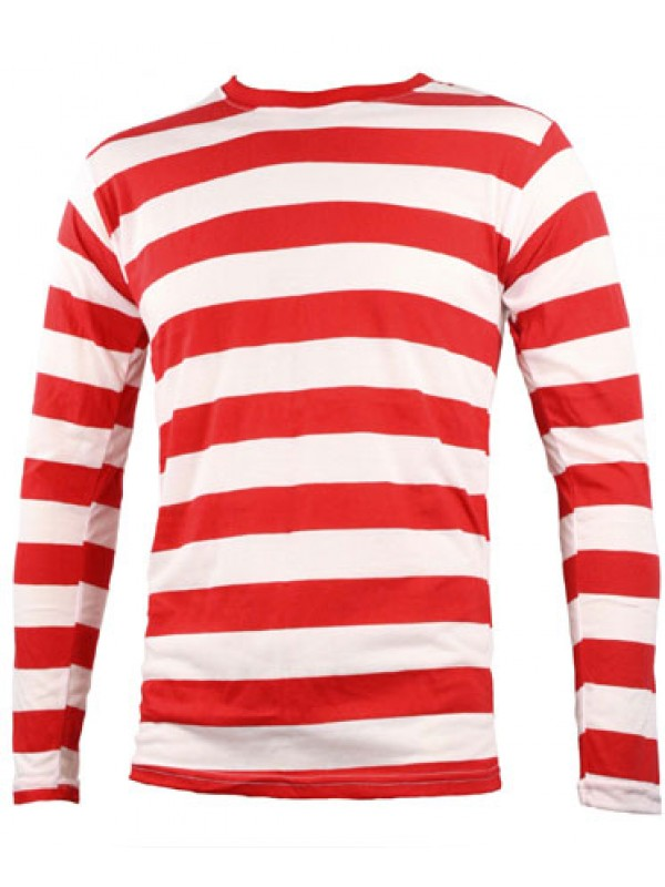 Sns contrast horizontal white red striped long sleeve t shirt Striped long sleeve t shirt