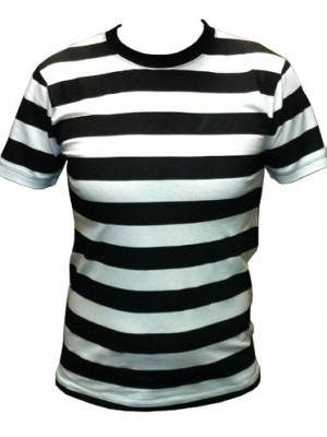 White/Black SnS Horizontal Striped T Shirt