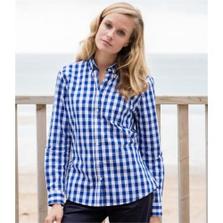 Plain LADIES LONG SLEEVE CHECKED COTTON SHIRT FRONT ROW 140 GSM