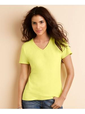 Plain Gildan women premium cotton V-neck t shirt