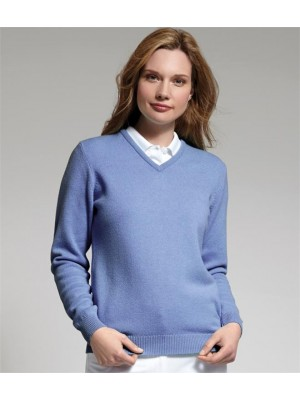 Plain GOLF LADIES V NECK LAMBSWOOL SWEATER GLENMUIR