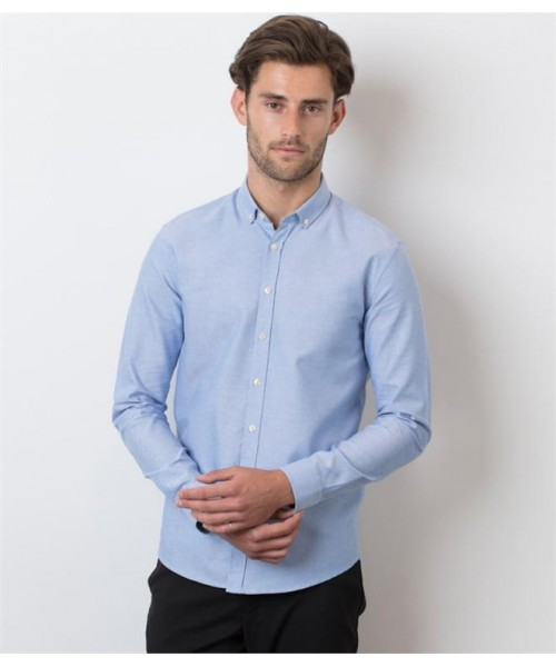 Plain MODERN LONG SLEEVE SLIM FIT OXFORD SHIRT HENBURY 150 GSM