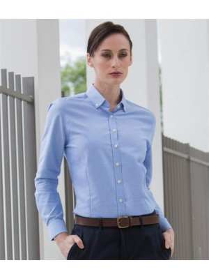Plain LADIES MODERN LONG SLEEVE REGULAR FIT OXFORD SHIRT HENBURY 150 GSM