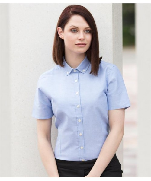 Plain LADIES MODERN SHORT SLEEVE REGULAR FIT OXFORD SHIRT HENBURY 150 GSM