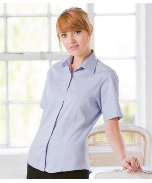 Plain LADIES SHORT SLEEVE OXFORD SHIRT HENBURY 130 GSM