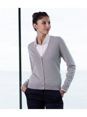 Plain LADIES LIGHTWEIGHT V NECK CARDIGAN HENBURY 12 Gauge
