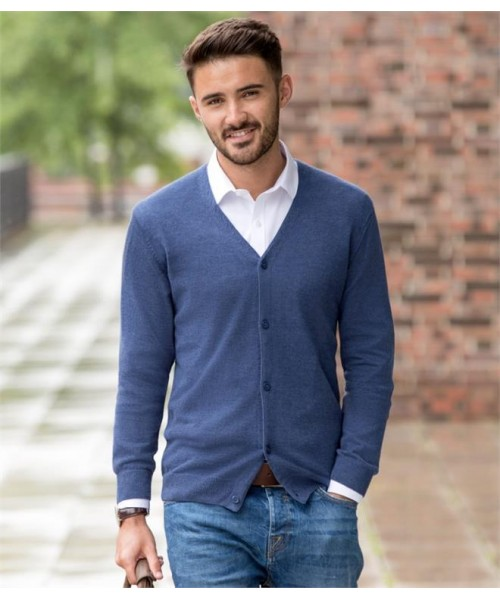 Plain COTTON ACRYLIC V NECK CARDIGAN RUSSELL 275 GSM