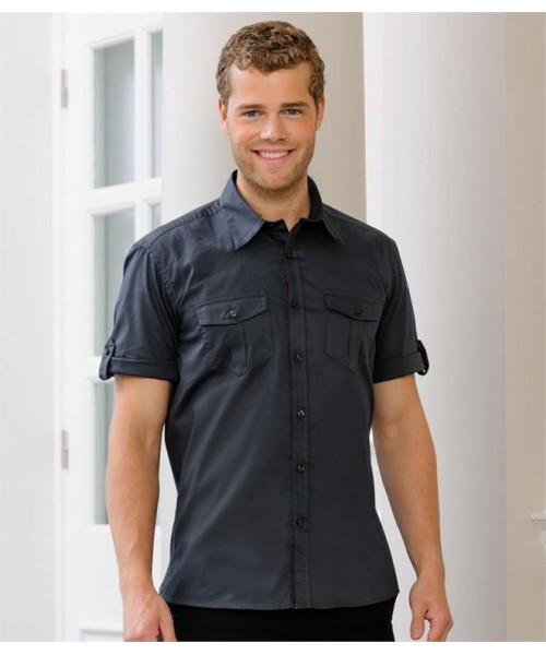 Plain COLLECTION SHORT SLEEVE TWILL ROLL SHIRT RUSSELL 130 GSM